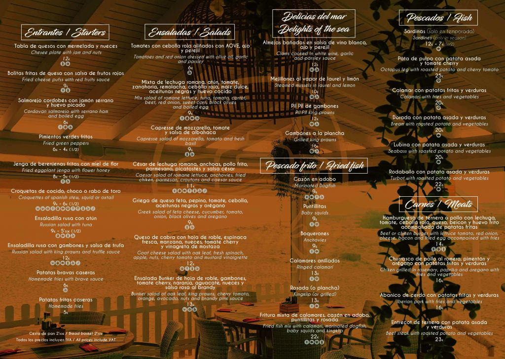 CARTA MENU INTERIOR BUNKER BEACH 2019