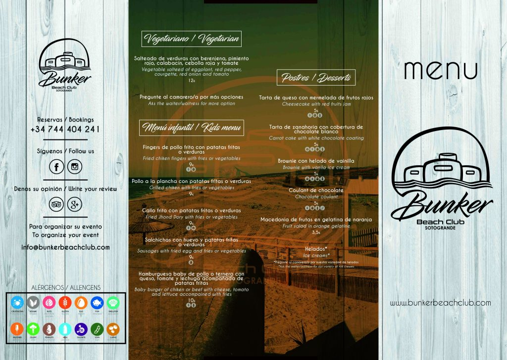 CARTA MENU PORTADA BUNKER BEACH 2019